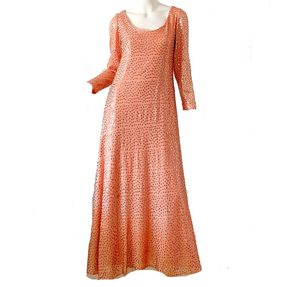 70s Vintage Mollie Parnis Dress Sequin Metallic Pa