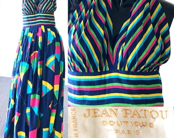Jean Patou Dress Halter Dress 60s Novelty Print Rainbow Dress Psychedelic Halter Party Dress Large