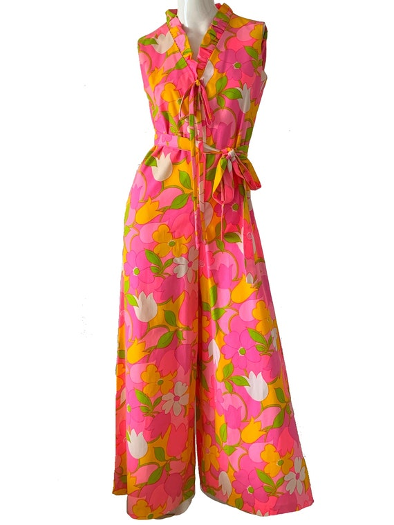 Vintage 70s Hawaiian Jumpsuit / Loungees Psychedel