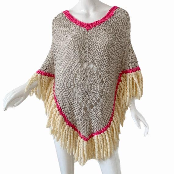 Vintage 70s Crochet Poncho, Boho Cottagecore Frin… - image 1