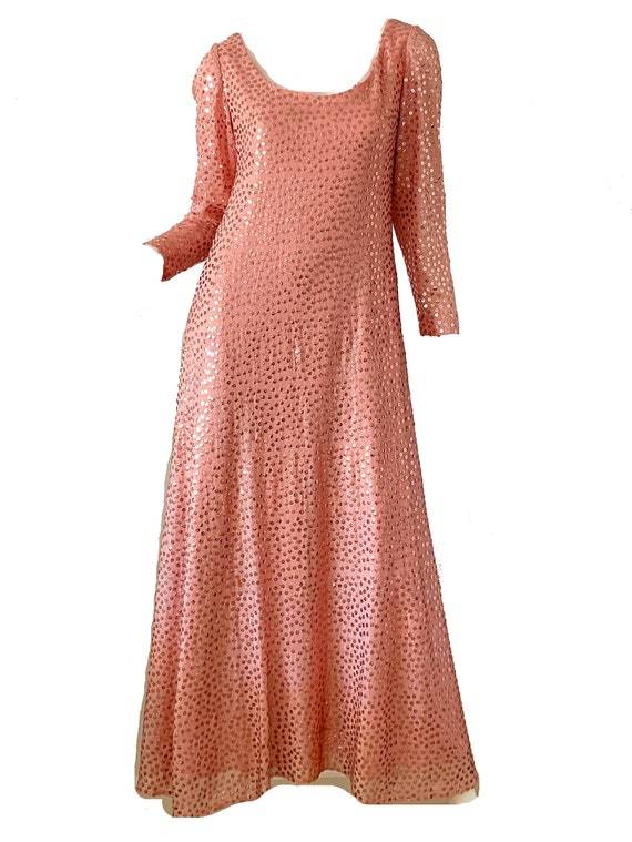 Vintage 70s Mollie Parnis Dress / Sequin Metallic