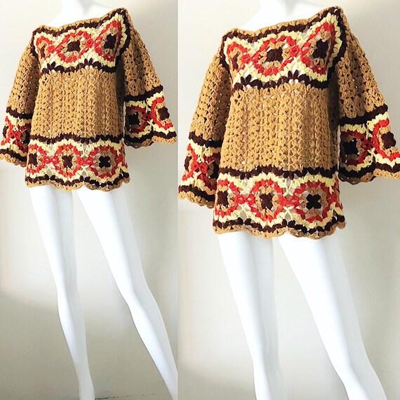 Häkeln Sie Pullover Bluse 70er Jahre psychedelische Mod Kimono | Etsy
