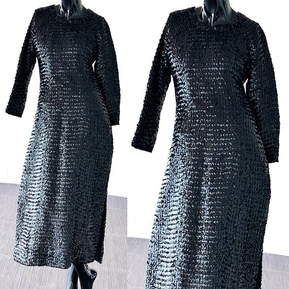 Sequin Vintage Black Evening Dress Gown 50s Beaded Party Sequin EUvSxqwn