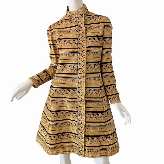 60s Ceil Chapman Dress Medium, Vintage Gold Broca… - image 2