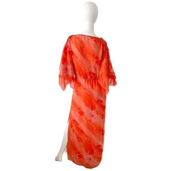 70s William Travilla Silk Kimono Dress Medium, Vi… - image 4