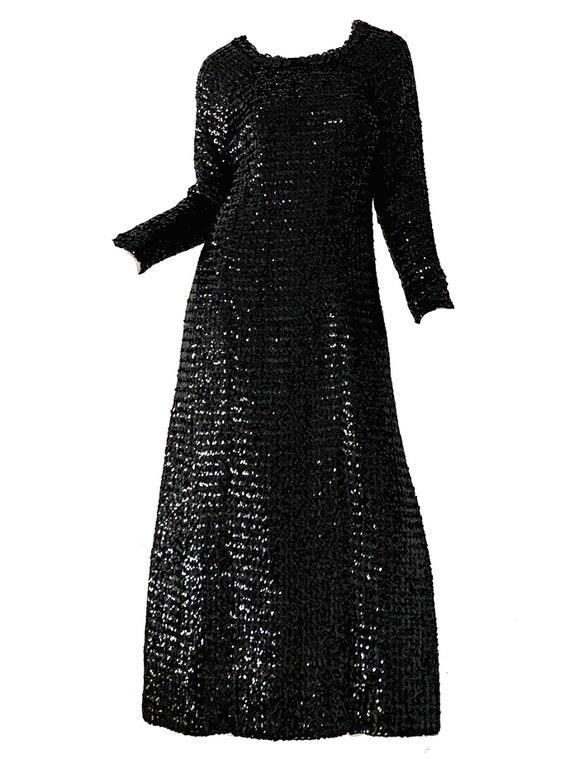 Vintage 60s Sequin Dress / Mod Beaded Party Slit P