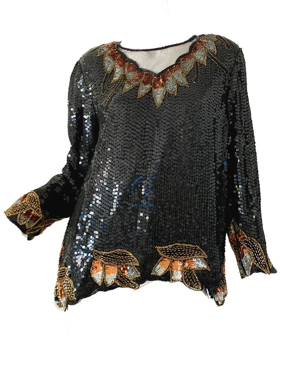 Vintage 80s Sequin Disco Blouse / Beaded Silk Part