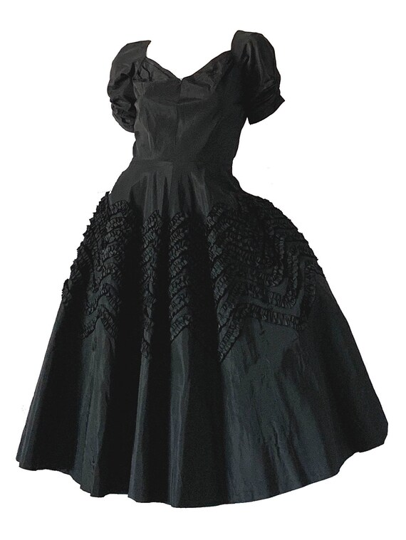 Vintage 50s Suzy Perette Dress / Ribbon Embroidere
