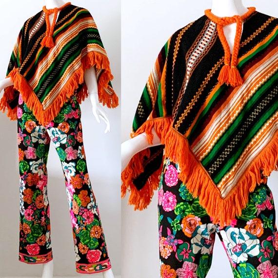 Mexican Serape Poncho / 70s Vintage Southwestern F