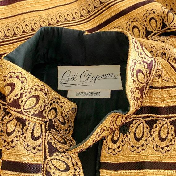 60s Ceil Chapman Dress Medium, Vintage Gold Broca… - image 3