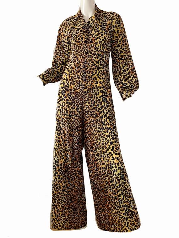 Vintage 70s Leopard Jumpsuit / Levoy Mod Disco Par