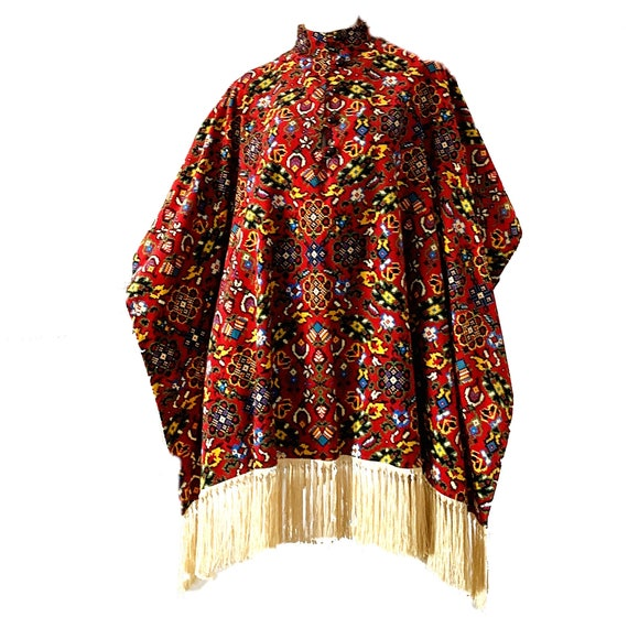 Vintage 70s Tapestry Cape Charm Of Hollywood Velve