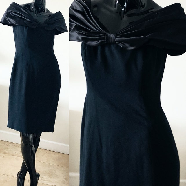 Black Bow Dress 80s Morton Myles Party Evening Dress Size 12