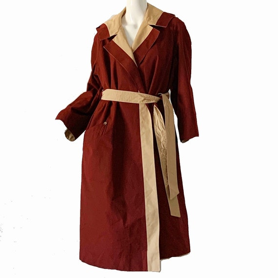 Vintage 70s Trench Raincoat Etienne Aigner Hooded… - image 2