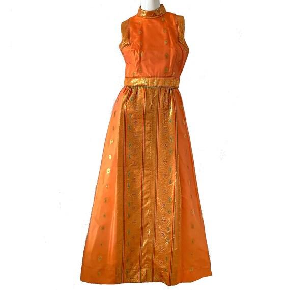 Vintage 50s Gold Lame Dress Mr Frank Brocade Metal