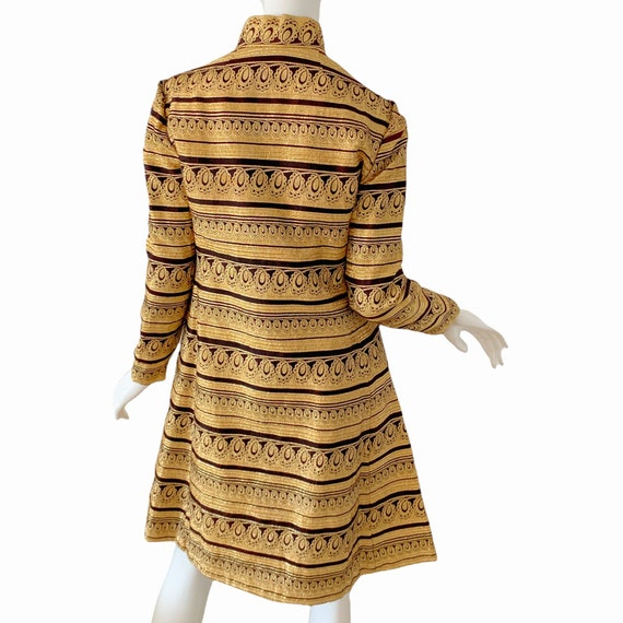 60s Ceil Chapman Dress Medium, Vintage Gold Broca… - image 4