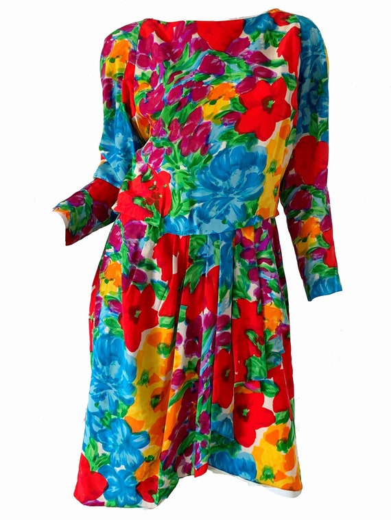 Vintage 80s Adele Simpson Dress / Floral Silk Pepl