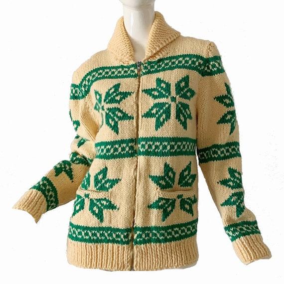 Vintage 50s Cowichan Sweater Hand Knit Wool Cardig