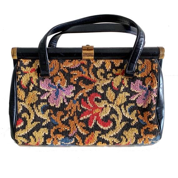 50s Tapestry Needlepoint Purse / Coblentz Leather