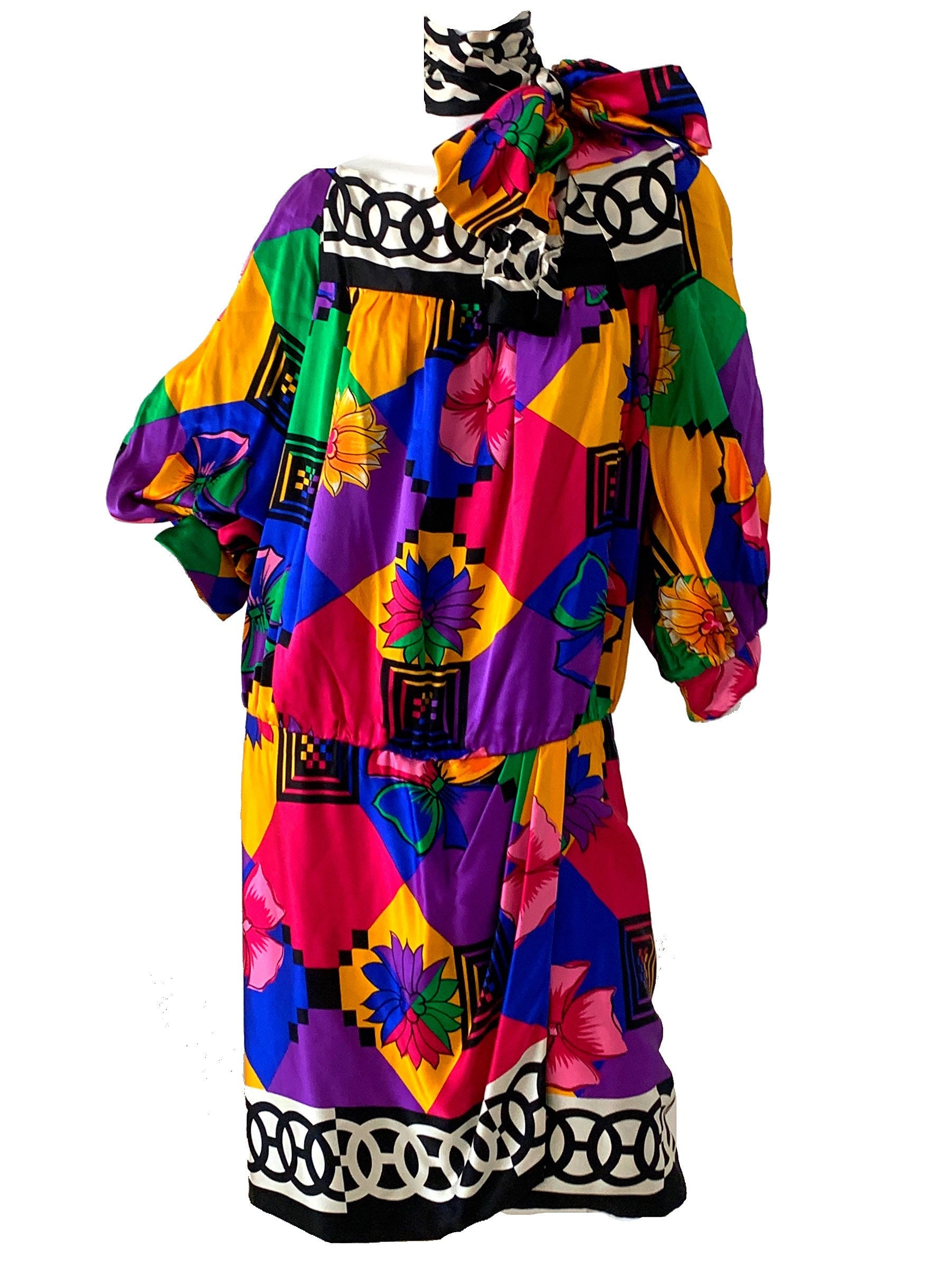 Vintage Scarf Styles -1920s to 1960s 1980S Floral Silk Geometric Dress, Party Bow Belted Wrap Dress Large $36.95 AT vintagedancer.com