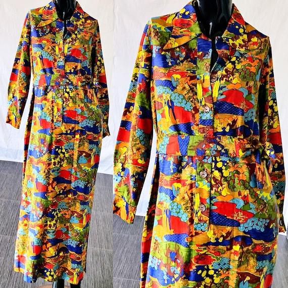 Ryan Novelty Print Florida Maxi Dress Medium Muriel Serbin Mod Psychedelic Dress Of 7Ew786q