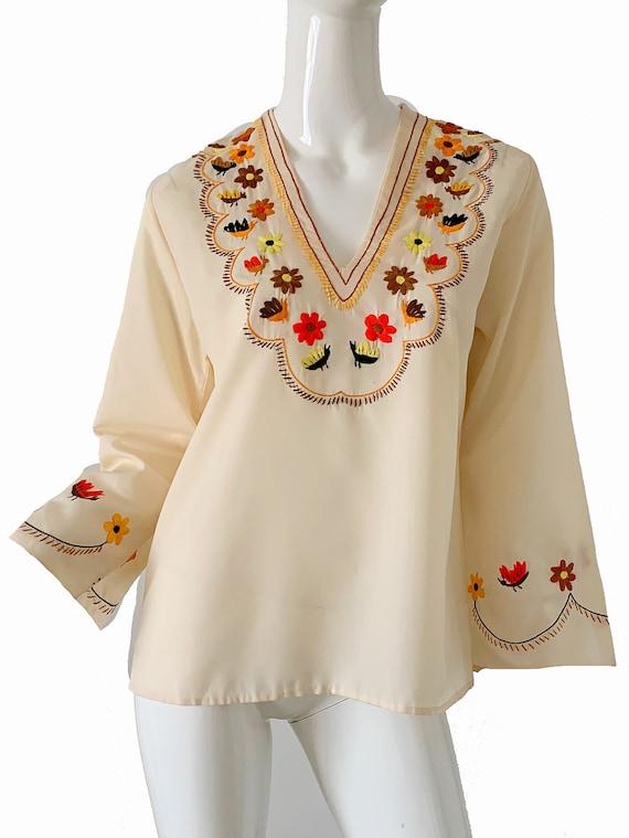 70s Oaxacan Skirt Boho Bohemian Hand Stitched  Size Small 28 Waist