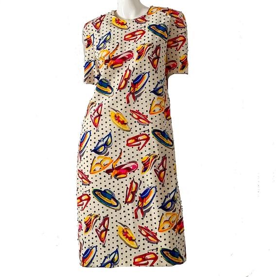 Vintage 80s Bill Blass Dress / Silk Novelty Print