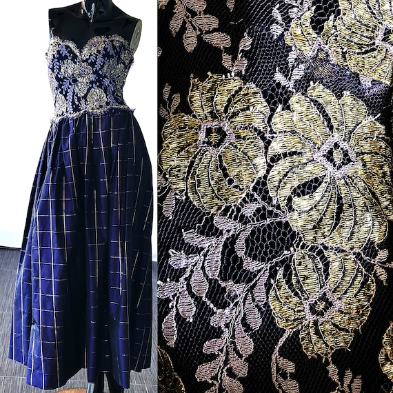Evening Prom Mills Lace Gown Gold Dress Party Tracy Dress Brocade 80s Dress zAqRwxw