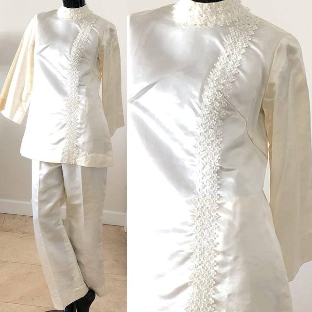 Mod suit Beaded Ivory Satin Pant Suit Vintage 50s Party Evening Pant Suit Large