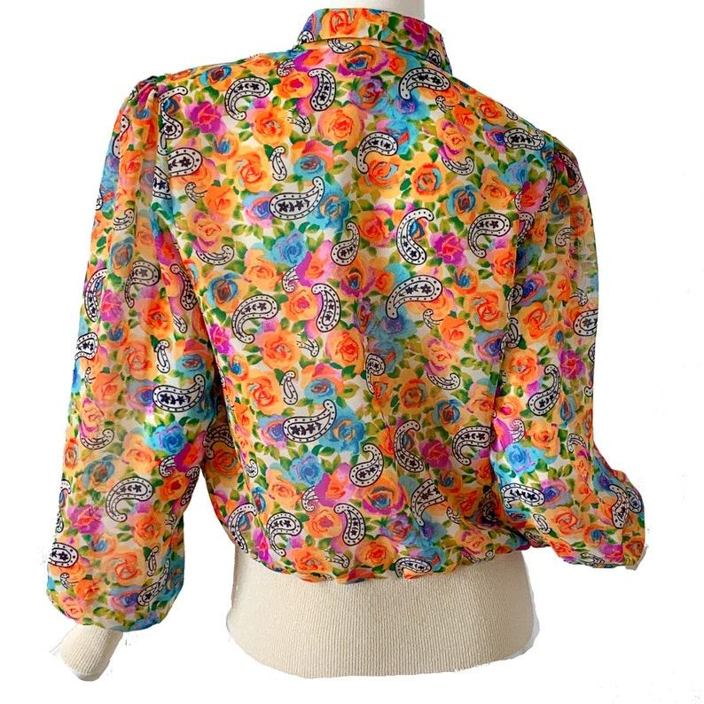 Vintage 80s Pastel Knit Blouse  Paisley Rainbow Disco Party Top Medium