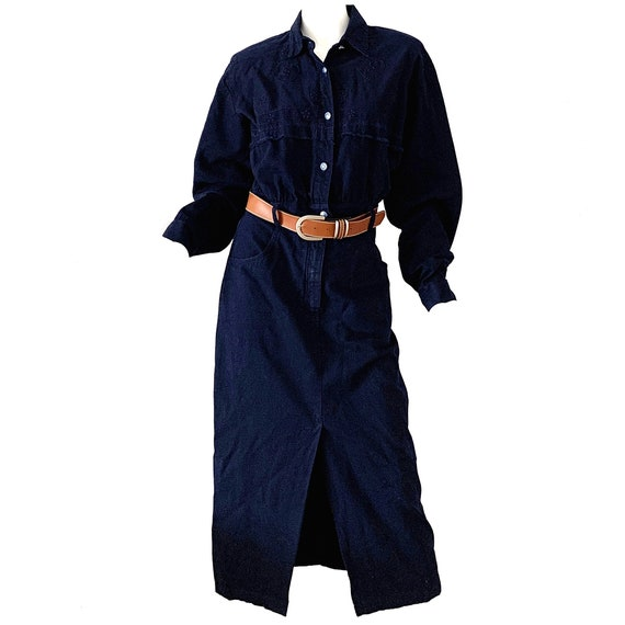 Vintage 80s Denim Western Dress /Embroidered Jean