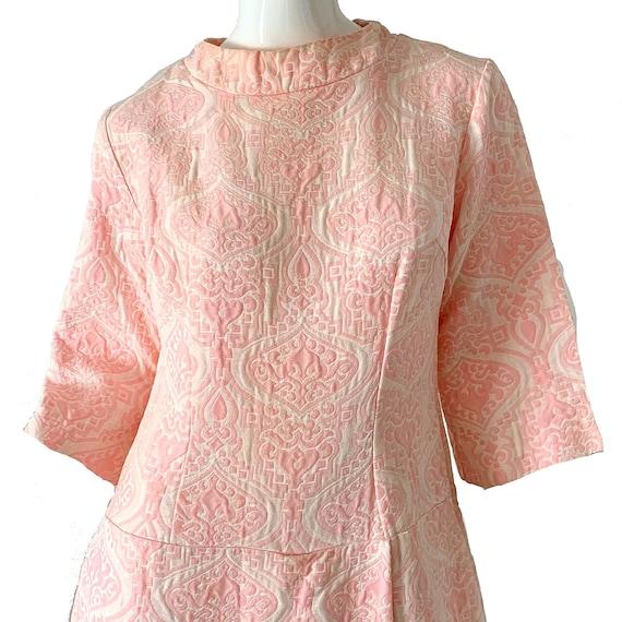 Vintage 60s Mod Jumpsuit Brocade Pink Palazzo Dre… - image 2