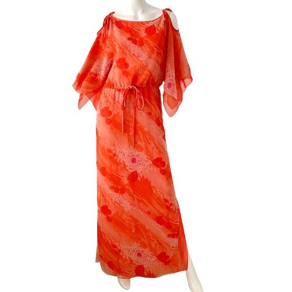 70s William Travilla Silk Kimono Dress Medium, Vi… - image 9