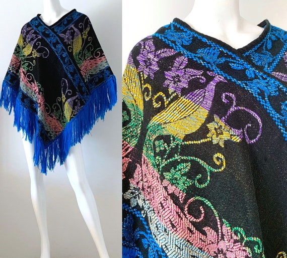 70s Mexican Poncho / 70s Vintage Embroidered Peaco