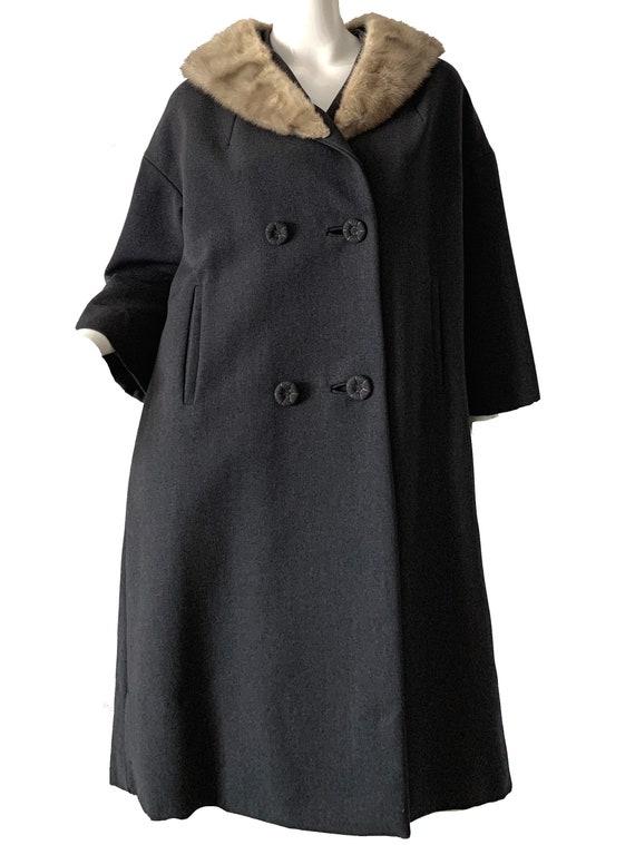 Vintage 50s Mink Wool Coat / Mod Brocade Blonde Fu