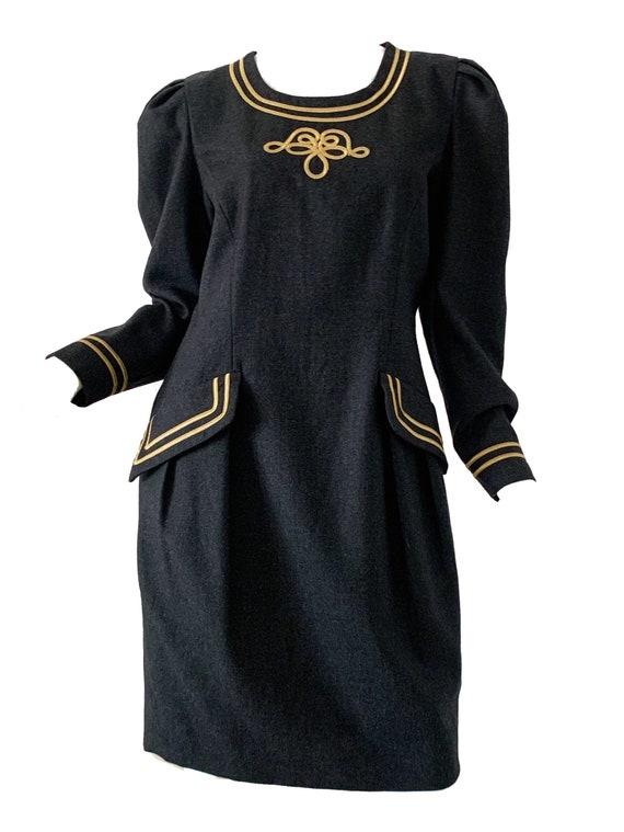 80s Vintage Albert Nipon Dress / Mod Metallic Pepl