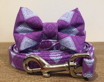 Purple & Blue Geometric Collar with Optional Bow Tie