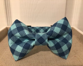 Blue Check Collar Optional Bow Tie