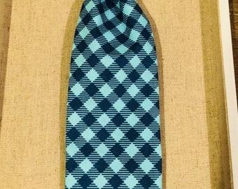 Blue Check Pet Tie