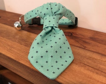 Teal Check Cat Collar with optional Flower, Bow Tie or Neck Tie