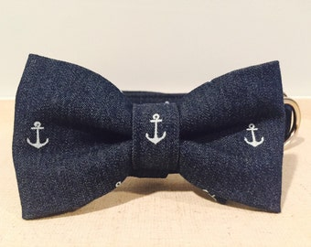 Denim Anchor Collar with Optional Bow Tie or Flower