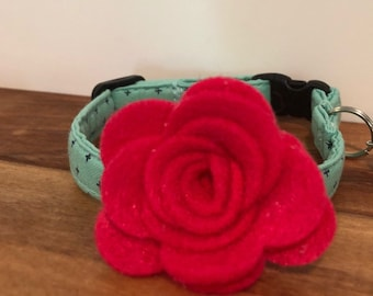 Teal Check Mini Dog Collar with optional Flower, Bow Tie or Neck Tie