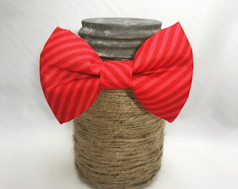 Red Stripe Collar with Optional Bow Tie