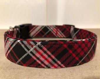 Red, Black & White Tartan Collar