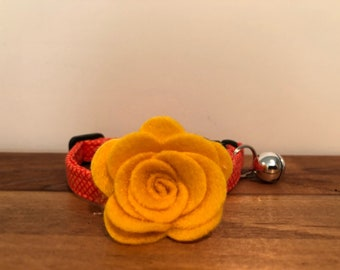 Orange Crush Cat Collar with optional Flower, Bow Tie or Neck Tie.   Cat collars are adjustable and include a bell.  The bell can be easily
