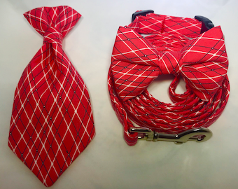 Red Collar with Optional Bow Tie or Neck Tie