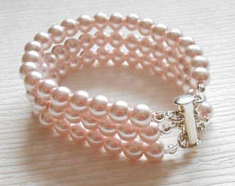 Pink Pearl Jewelry Bridesmaid Gift under 25 Bridal Blush Wedding Accessories Bracelet Earrings Set October Birthday Breast Cancer Awareness