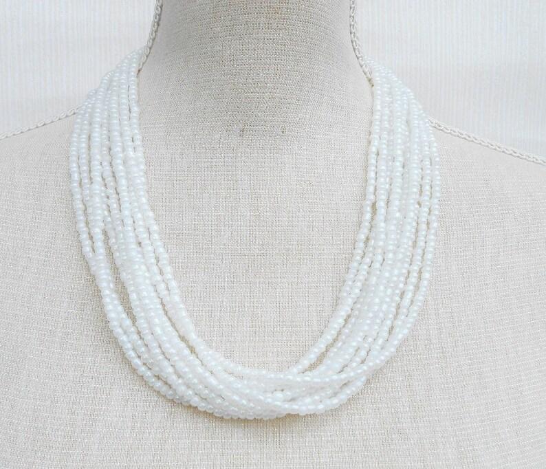 Wedding necklace Beaded necklace Bridesmaid gift Bridesmaid necklace Mum birthday White necklace