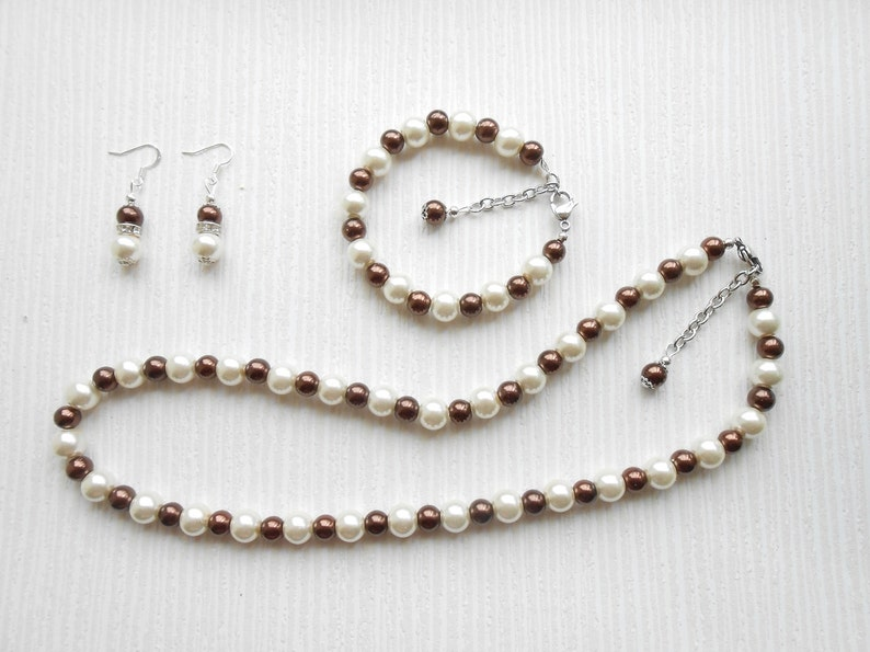Ivory and brown Pearl set Jewelry set Bridesmaid jewelry Mother of the bride Etsy jewelry Bridesmaid set,Gift for wife