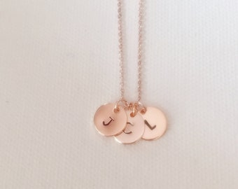 Family necklace, triple initial necklace, personalised necklace, rose gold necklace, personalised gift, necklace for women, necklace for mum